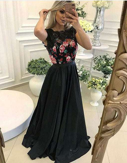 Unique black A ling long prom dress, black evening dress