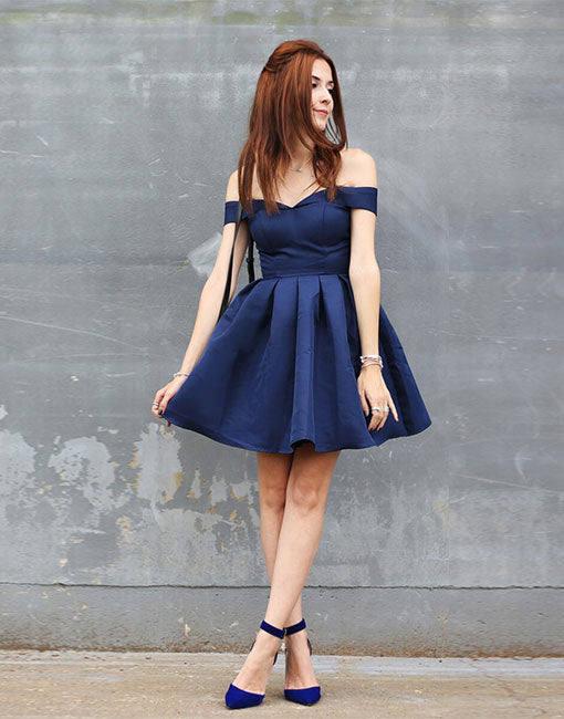 Cute dark blue short prom dress, homecoming dress