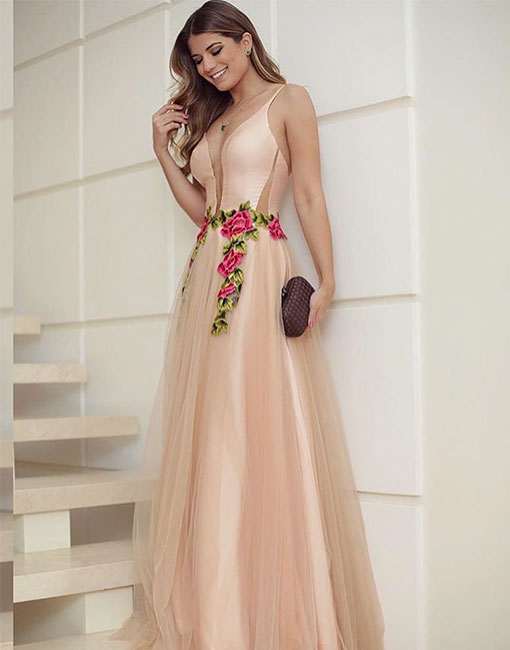 Elegant champagne v neck long prom dress, champagne evening dress