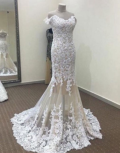 White mermaid lace off shoulder long prom dress, lace evening dresses
