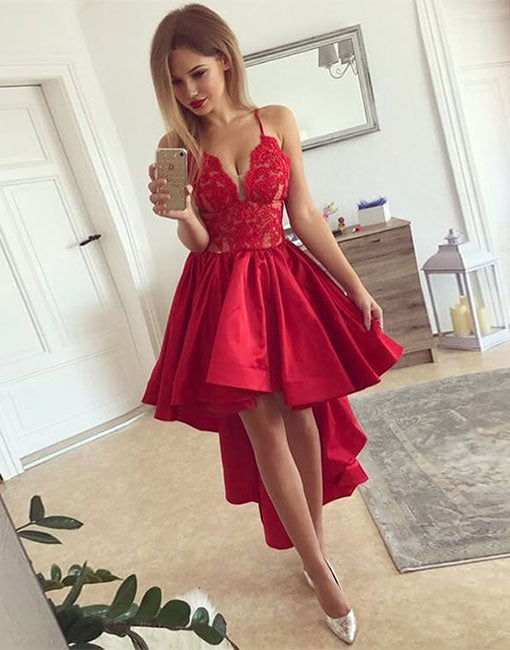 2123af0e2c9b Cute red v neck lace high low prom dress