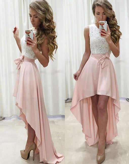 High low white and pink cheap prom dress, lace evening dress