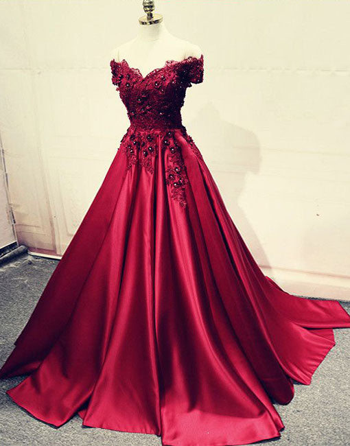 Burgundy lace off shoulder long prom dress, lace evening dress