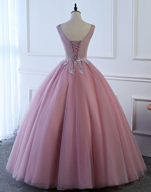 Pink round neck tulle long prom dress, evening dress