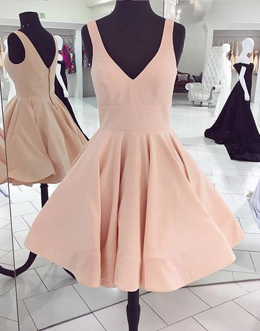 Cute A line v neck short prom dress, homecoming dresses