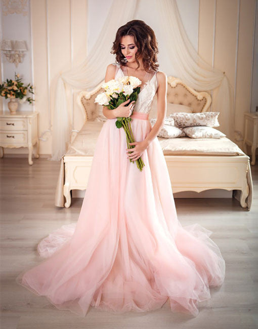 Pink A line v neck tulle lace long prom gown, pink evening dress