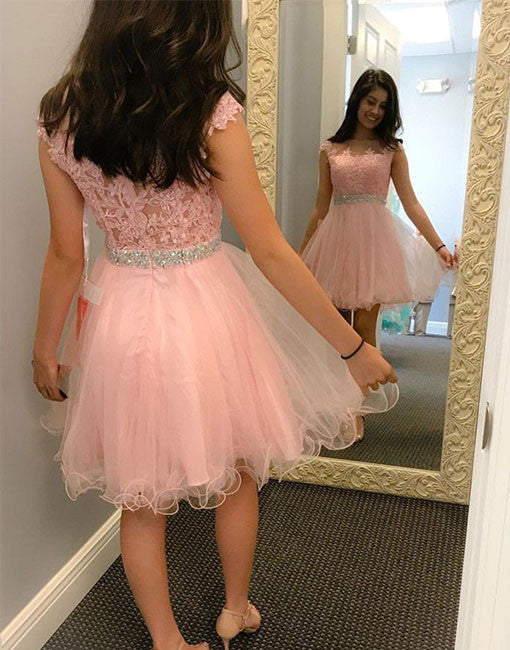 Cute A line round neck lace short prom dress, lace homecoming dress