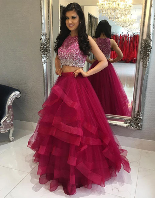 Burgundy two pieces tulle long prom dress, burgundy evening dress
