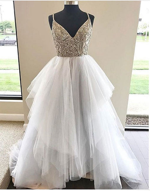 White v neck tulle long prom dress,white evening dress