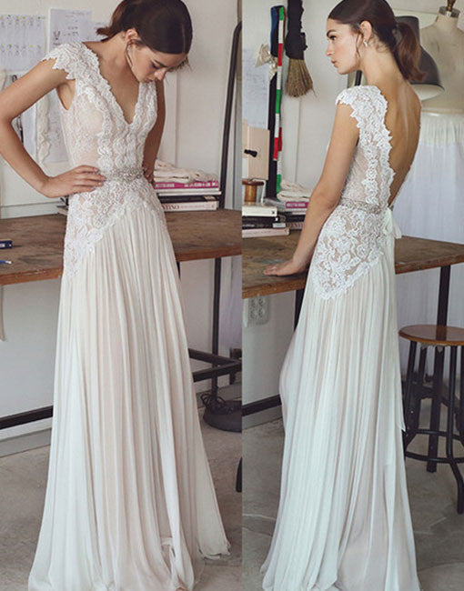 Elegant A line V neck lace long prom dress, wedding dresses
