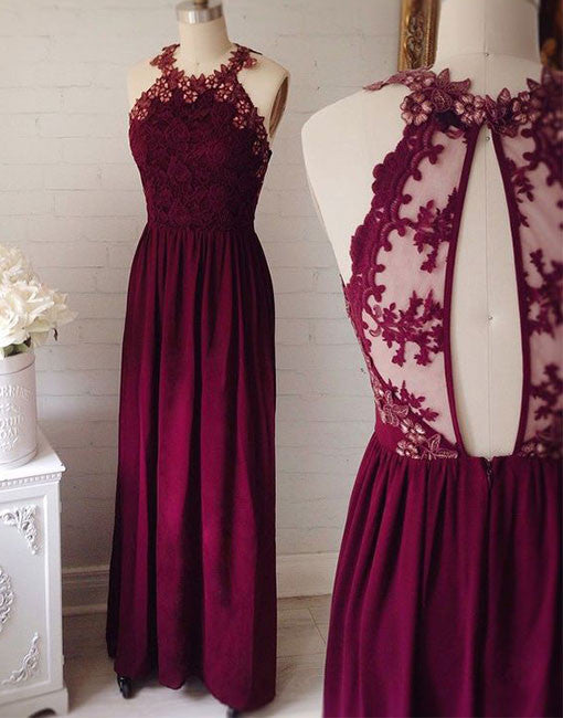 Burgundy round neck lace long prom dress, lace evening dresses