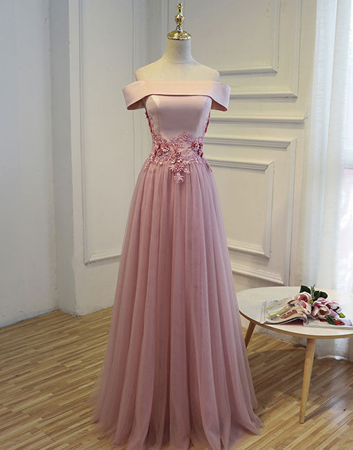 Pink A line tulle off shoulder long prom dress, pink evening dresses