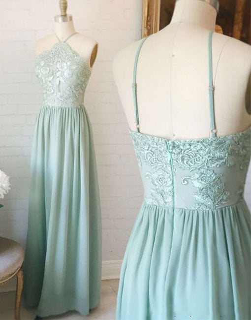 Simple A line chiffon long prom dress with appliques, bridesmaid dress