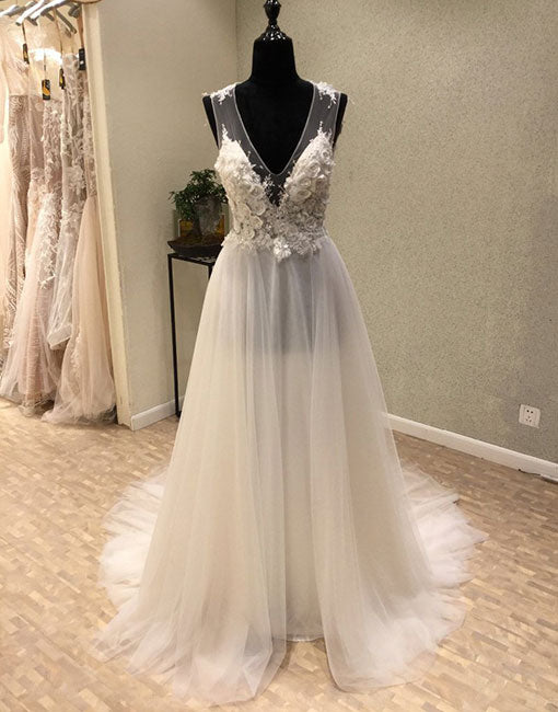 White v neck tulle lace long prom dress, evening dress