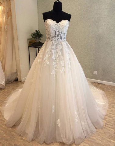 White lace tulle long prom dress, sweetheart evening dress