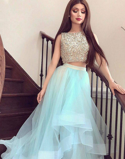 Stylish two pieces tulle long prom dress, formal dresses