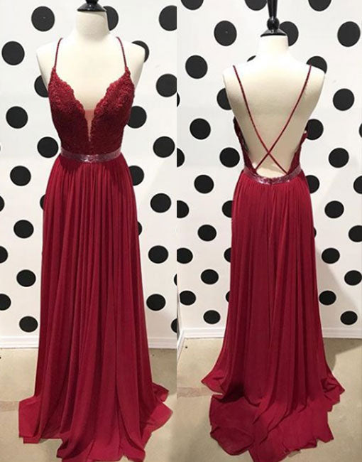 2537f4a7d80 Burgundy lace backless long prom dress
