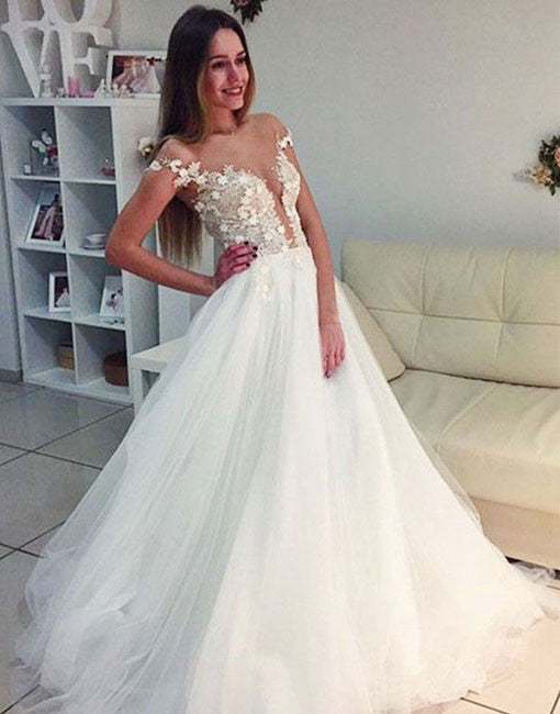 Unique A line white tulle long prom dress, evening dress