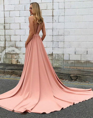 Simple A line pink long prom dress with train, pink evening dress