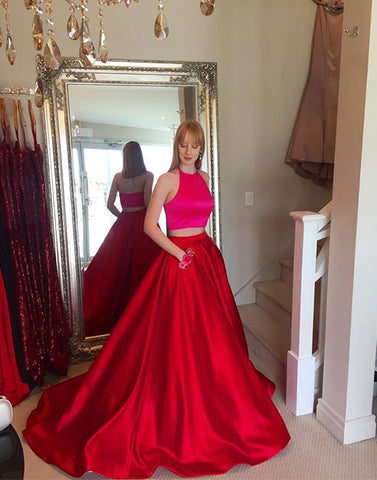 Simple red two pieces long prom gown, red evening dress