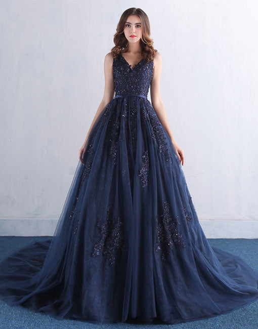Amazing dark blue v neck lace tulle long prom dress, lace evening dress