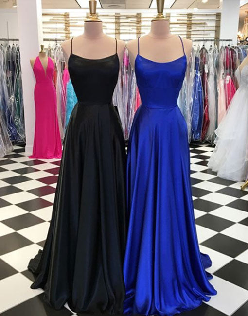 Simple backless long prom dress, evening dress