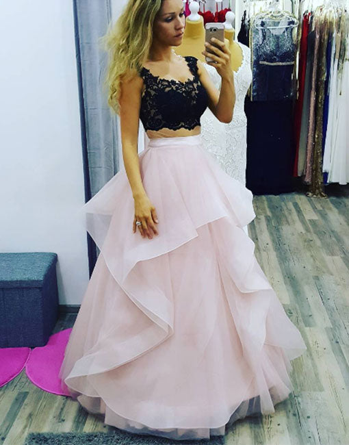 e7f7a575665 Stylish two pieces lace tulle long prom gown