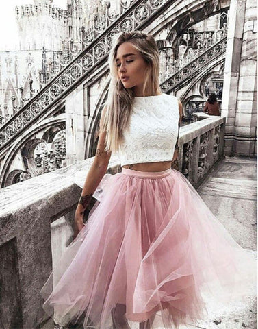 Stylish two pieces lace short prom dress, homecoming dress