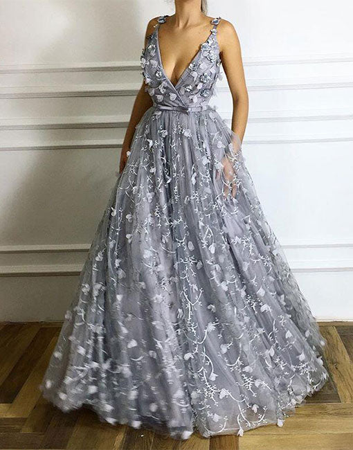 Gray v neck long prom dress, gray evening dress