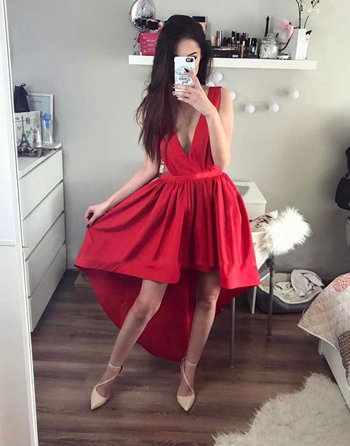 Stylish red high low prom dress, red evening dresses