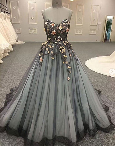 Custom made 3D flowers tulle long prom dress, evening dress