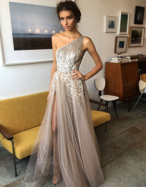 Stylish one shoulder tulle sequins long prom