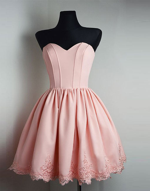 Cute pink sweetheart neck lace short prom dress, hoecoming dress