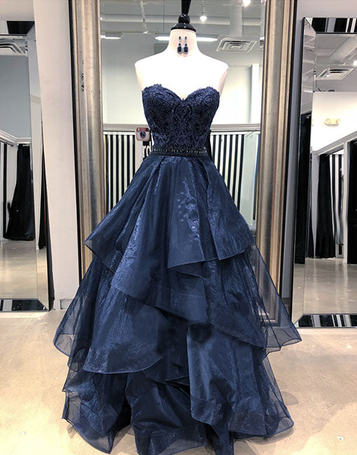 Dark blue lace tulle long prom dress, ball gown