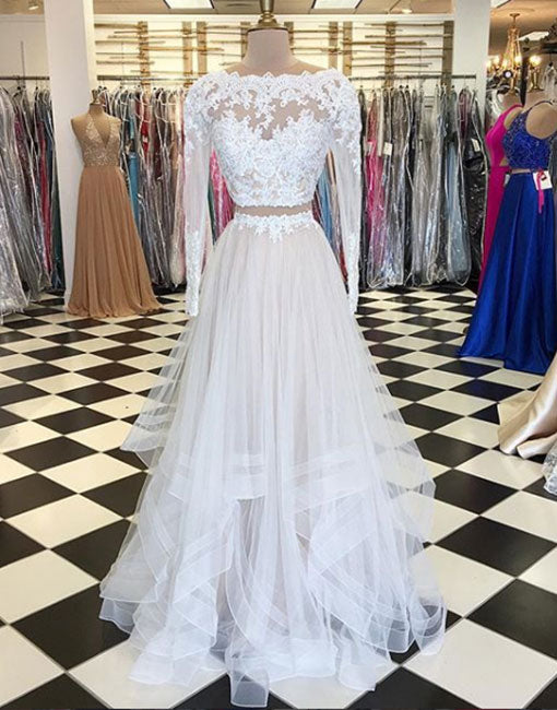 White Two Pieces Lace Long Prom Dress Long Sleeve Evening Dress