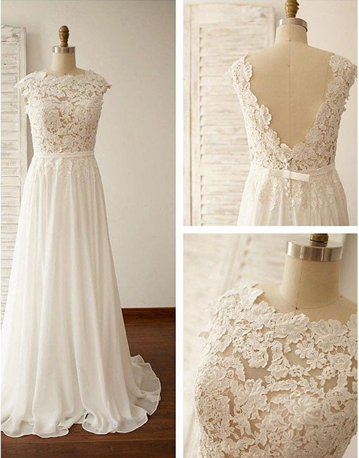 White A line chiffon lace long prom dress, wedding dresses