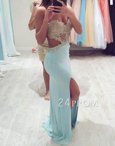 Sweetheart A-line Backless Chiffon Long Prom Dresses,Formal Dresses