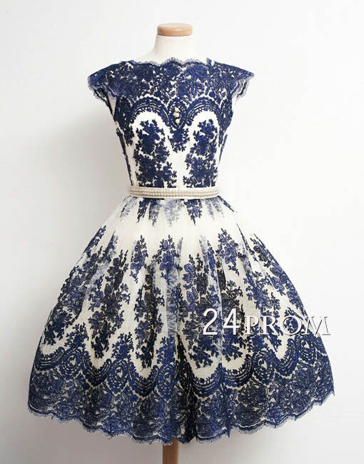 Pretty A-line Deep Blue Lace Short Prom Dresses