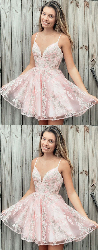 Pink v neck tulle lace short prom dress pink homecoming dress