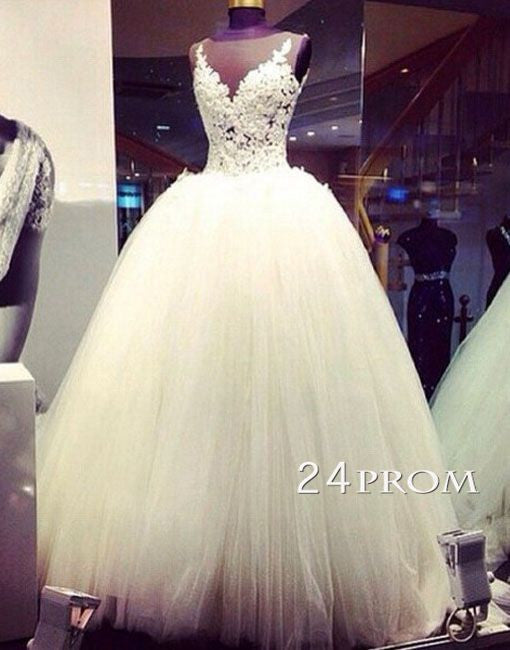 Custom Made White Round Neck Lace Long Wedding Dress