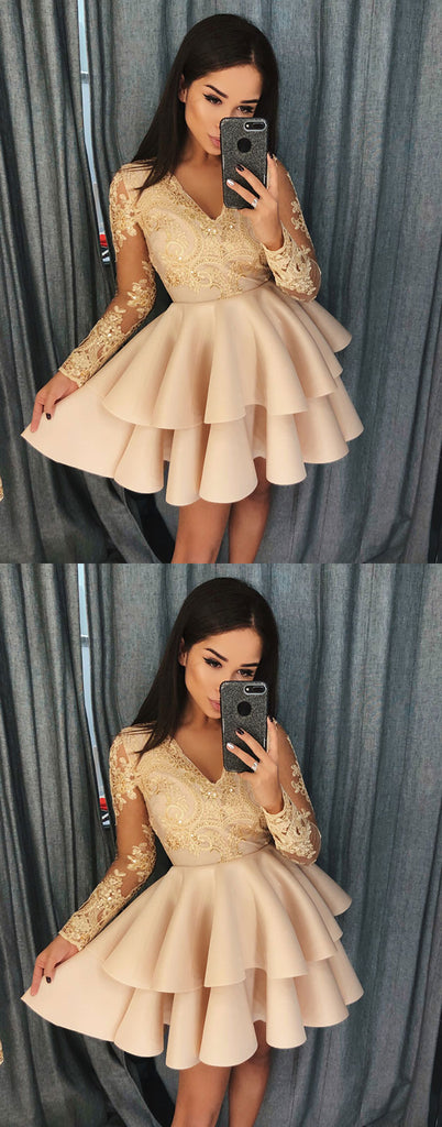 Champagne v neck lace short prom dress, champagne lace homecoming dress