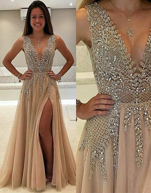 champagne v neck beads long prom dress, evening dress