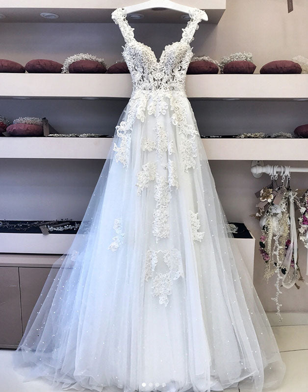 White tulle lace long prom dress, white tulle wedding dress