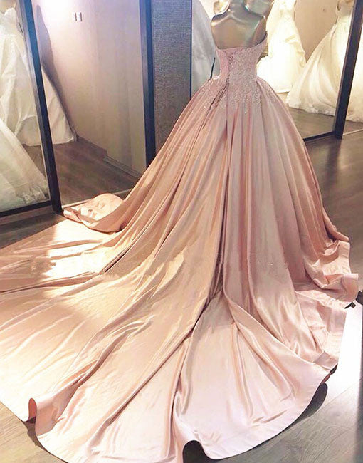 Pink sweetheart neck lace long prom gown, pink evening dress