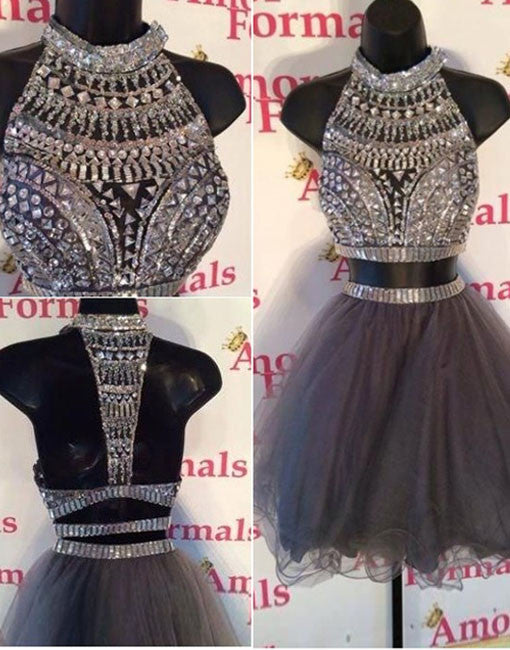 A-line Tulle Rhinestone Short Gray Prom Dress, Homecoming Dress