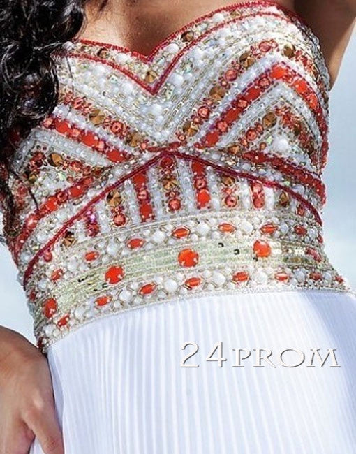 White A-line Sweetheart Long Prom Dresses, Formal Dress