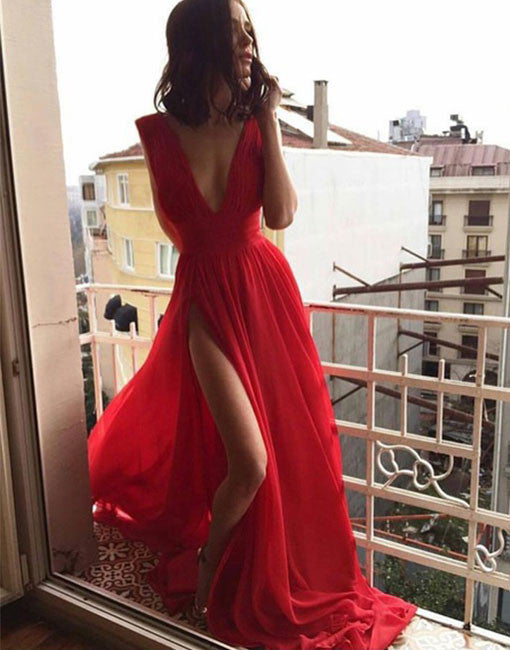 Simple v neck red long prom dress, red evening dress