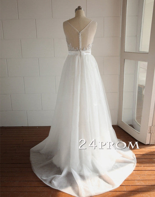 White A-line Round Neckline Tulle Lace Long Prom Dresses, Formal Dresses