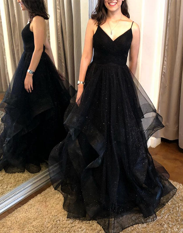 Black sweetheart tulle long prom dress black evening dress