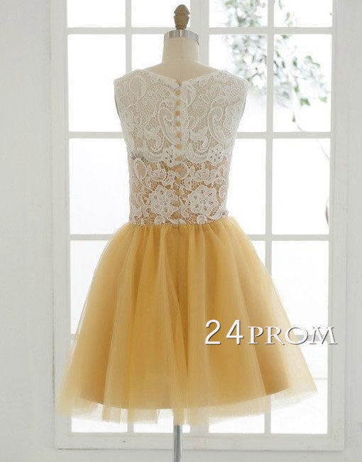 Yellow Tulle Lace Short Prom Dresses, Bridesmaid Dress